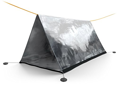 SURVIVOR X Emergency Shelter Tube Tent - Paracord 550 (Military Grade) Suspension - Super Lightweight Mylar Designed by NASA to