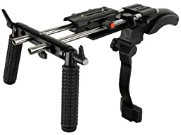 Battle Tested Film Gear 954-P-SMC Proaim Shoulder Mount Stabilizer with Chest Support and 15 mm Rail System (Black)