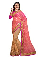 DesiButik's Lovely Peach And Beige Viscose And Net Saree