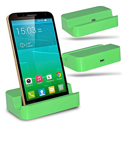 Alcatel Flash Plus + Station d'accueil de bureau avec chargeur Micro USB support de chargement - Green - By Gadget Giant®