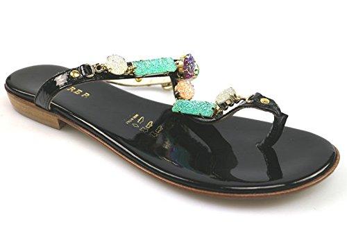 scarpe donna CESARE P. 40 infradito nero vernice AS908