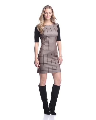 Taylor Women's Grid Print Ponte Dress