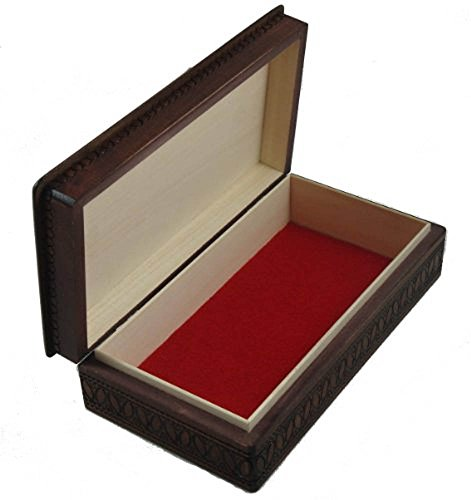 Espresso Stained Linden Wood Jewelry Keepsake Storage Box (Large) Wooden Box