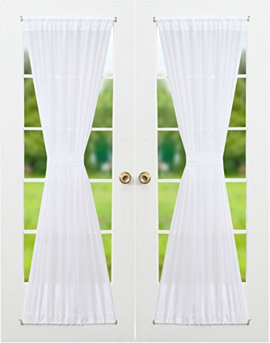RHF Voile French Door Curtains-Set of 2 Panels, 40W by 72L Inches, Sheer White (French Door Curtain White compare prices)