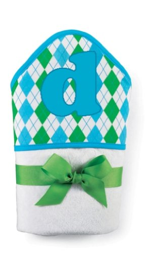 Mud Pie Initial Baby Boy Blue Initial Hooded Terry Towel, Letter D front-322956