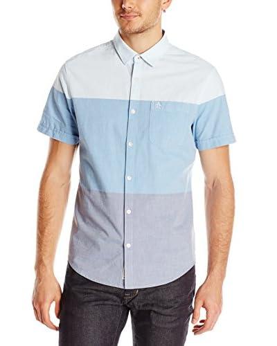 Original Penguin Men's Color Blocked Oxford Short Sleeve Shirt