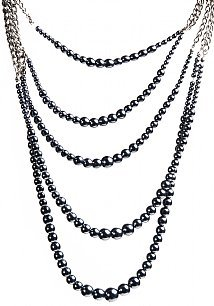 Five Strand Pearl with Chain Trendy Necklace