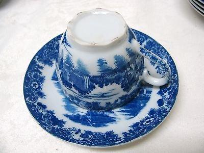 Antique Bone China Porcelain Blue White Tea Cup Saucer 2 Pc Transfere Ware Set