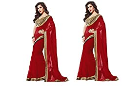MDS Chiffon Embriodered Designer Red saree