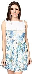 Shibori Women's Dress (Ds5017Cf_Xl, White and Blue, X-Large)