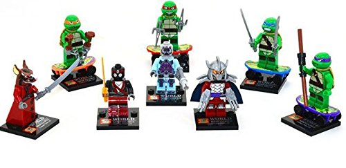 [Generic Teenage Mutant Ninja Turtle Mini-Figure 8pc Set w/Leonardo, Donatello, Michelangelo and Raphael / Splinter Shredder & The Foot] (Van Gun X Sword Costume)