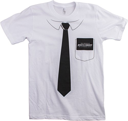 [Latter-Day Saints Missionary Costume | Funny Tie + Book of Mormon Unisex T-shirt-(Adult,S)] (Missionary Costumes)