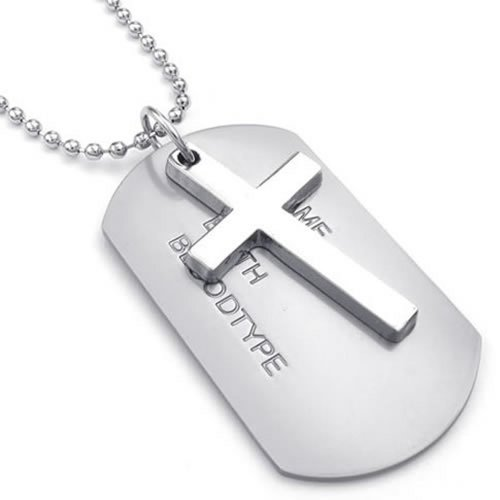 Konov Jewelry Mens Army Style Cross Name Dog Tag Pendant Necklace, 27 Inch Chain, Silver front-173319