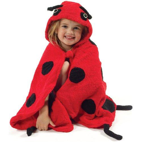 Kidorable Girls 2-6X Ladybug Towel, Red, Medium