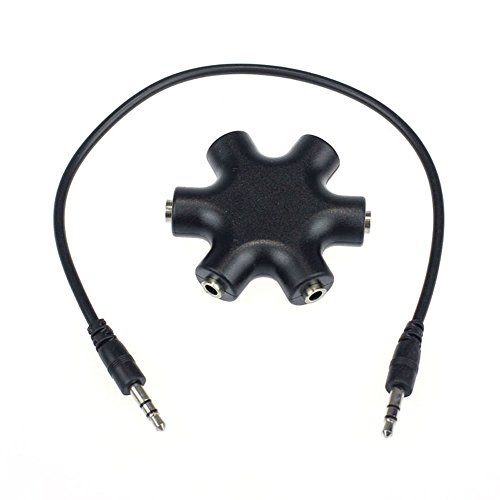 Bestpriceam New Useful 3.5Mm Headphone Earphone Audio Splitter 1 Male To 2 3 4 5 Female Cable (Black)