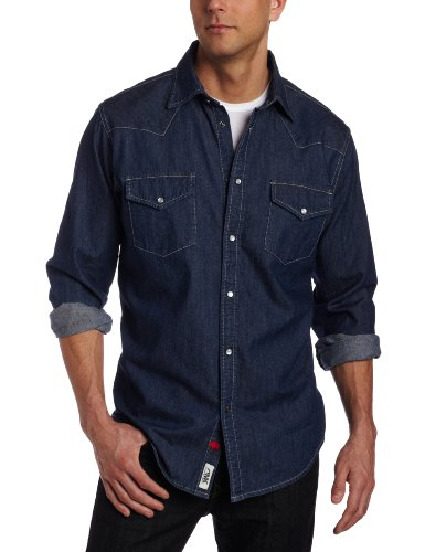 Mountain Khakis Men's Original Mountain Denim Shirt (Dark Indigo, XX-Large)