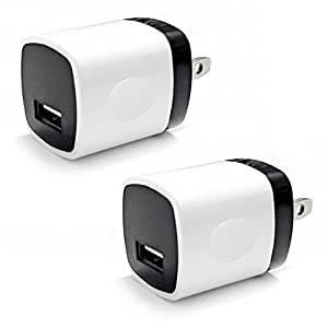 Wall Charger, 2 Pack Dynamics Org USB AC Universal Power Home Wall Travel Charger Adapter for Smartphone's (White-Black)
