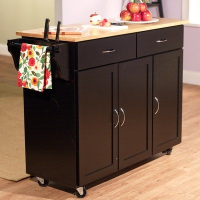 Extra Large Kitchen Cart with Wood Top in Black