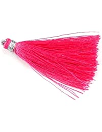 "Sumit 10 Pcs Beautiful Dark Pink Color Silk Tassel Beautiful Necklace Making 2"" Long Tassel,Beautiful Earring..."