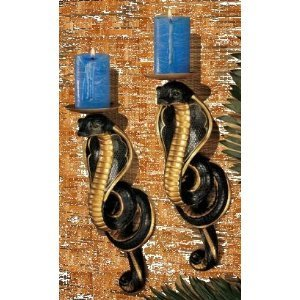 Egyptian Cobra Candle sticks Goddess Wall Sculpture Candlesticks
