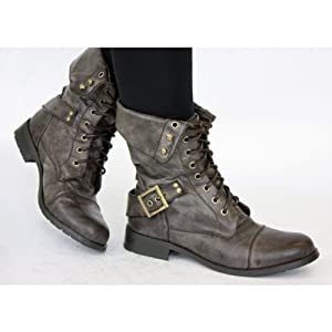 Ladies Brown Military Style combat Army Lace up Ankle Worker Boots Size 3 4 5 6 7 8