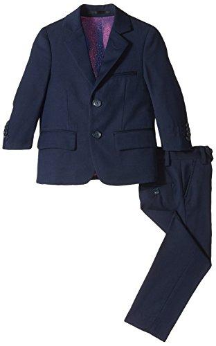 Isaac Mizrahi Little Boys' Slim 2 Piece Cut Wool Blend Suit, Navy, 7