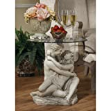 Romatic Lovers Couple Sculpture Occasional Side Accent Table