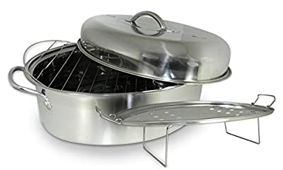 Cook Pro 574 All-in-1 Stainless High Dome Roaster and Fish Poacher, 23-Pound