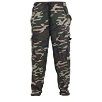 Mens Military Camouflage Design Jogging Bottoms/Jog Pants (Waist: 36 inch (Large) (Open Cuff)) (Green Camouflage)