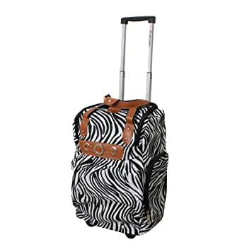 "Dejuno Lightweight 20"" Easy Travel Collection Rolling Carry-On Luggage - Zebra"