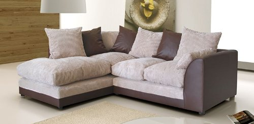 Best Dylan Jumbo Cord Corner Group Sofa Brown and Beige ...