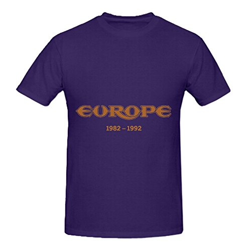 Europe 1982 1992 Roll Men Crew Neck Digital Printed Shirts Purple