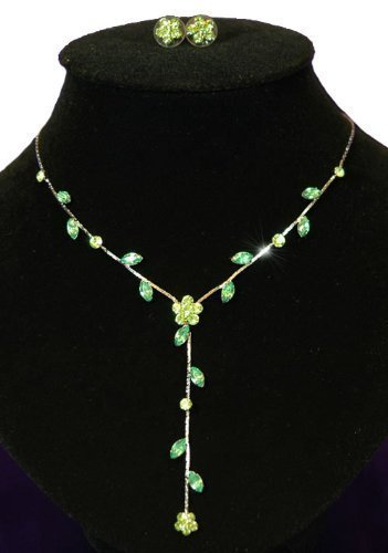 Pretty Green Floral Delicate Diamante Jewellery Necklace Earrings Set with PreciousBags Dust Bag