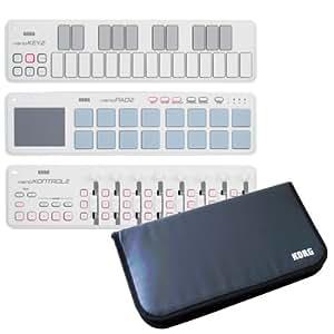 KORG コルグ USB-MIDI コントローラー nanoKEY2+nanoKONTROL2+nanoPAD2+専用モバイルケース 限定セット ホワイト
