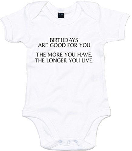 More Birthdays, Live Longer, Printed Baby Grow - White/Black 12-18 Months front-309519