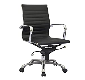 Modern Design Ribbed Mid Back Synthetic Leather Office Chair - Black