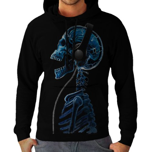 Wellcoda | Skeleton Dj Headphones Music Skull Style Mens Funny Hoodie New S-3Xl Black S