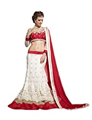 Admyrin Off-white Net Embroidered Semi-Stitched Lehenga Choli With Red Dupatta