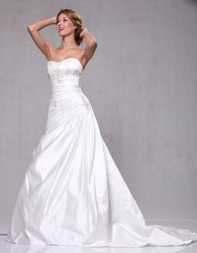 W02 Satin Side Draped A-line Bridal Wedding Formal