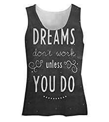 Snoogg Dreams Do Not Work Until You Do Womens Tunic Casual Beach Fitness Vests Tank Tops Sleeveless T shirts