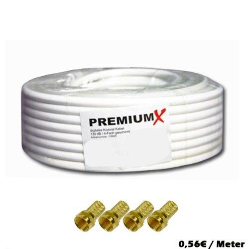 10m Koaxial Kabel 130 dB 4-Fach geschirmt, SAT Koax Antennenkabel 130dB 3D FullHD 1080p HDTV tauglich DVB-S / S2 DVB-C und DVB-T + 10 x F-Stecker 7,5mm in Farbe 'Gold' Gratis