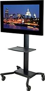 Peerless Universal Rolling Cart for 32 - 65 inches Flat Panel Screens Weighing Up to 150 lb (includes Metal Shelf, Black)