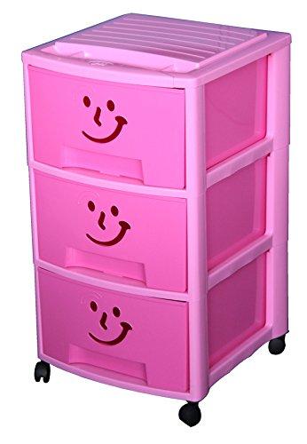 M-Home-Schubladenrollwagen-Gesicht-mit-3-Schben-in-pink-PLS6093