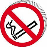 No smoking symbol self adhesive vinyl 50mm diameter Pack of 10
