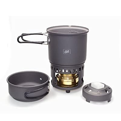 Esbit CS985HA 5-Piece Lightweight Trekking Cook Set with Brass Alcohol Burner Stove and 2 Anodized Aluminum Pots