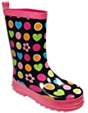 Private Label - Toddler Girls Polka Dot Heart Rainboots, Black, Multi