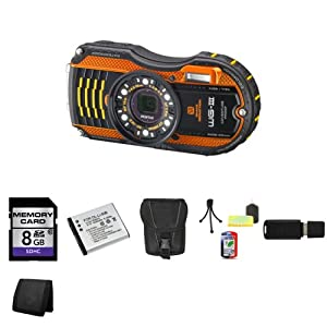Pentax Optio WG-3 16MP Waterproof Digital Camera (Orange) + 8GB SDHC Class 10 Memory + Extra LI-50B Battery + Carrying Case + Mini Tripod Kit + USB SDHC Reader + Memory Wallet