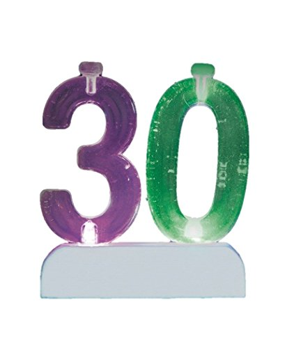 Flashing Number 30 Cake Topper & Birthday Candle Set, 5pc - 1