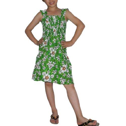 Girls Thai Exotic Gathered / Smocked Bodice Flowing Summer Tank Dress - Size: 8