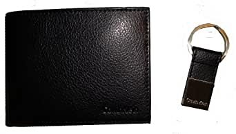 New Calvin Klein 79348 Men's Leather Bi Fold Wallet with Key Chain Set - Black
